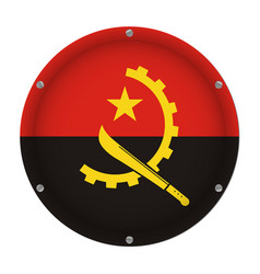 Round metallic flag of angola with screws vector