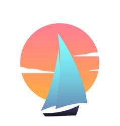 Sailboat at sunset ship modern icon vector