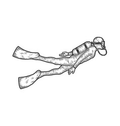 Scuba diver in standard diving dress sketch vector