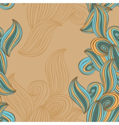 seamless pattern wave background beige and blue vector image
