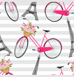 seamless pattern with eiffel tower bicycle vector image