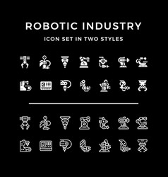 set icons of robotic industry vector image