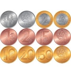 Set obverse and reverse new Belarusian Money coins vector image
