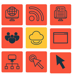 Set of 9 internet icons includes local connection vector