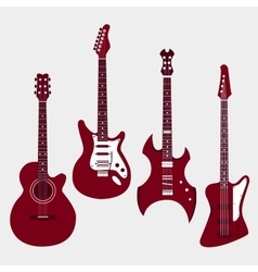 Set of different guitars Acostic guitar electric vector