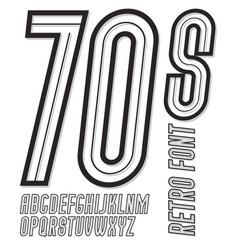 set of narrow retro old upper case alphabet vector image