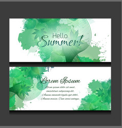set of templates of horizontal banners with green vector image