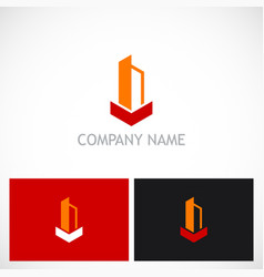 shape building tower logo vector image vector image