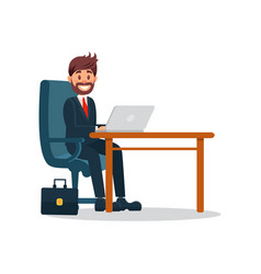Smiling businessman working with laptop computer vector