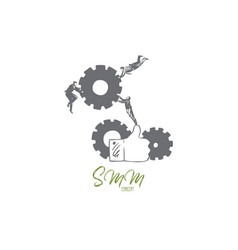 smm concept sketch isolated vector image