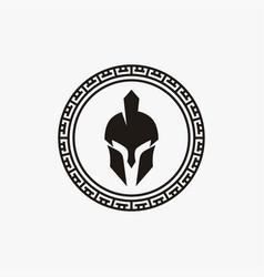 Spartan greek coin logo design vector
