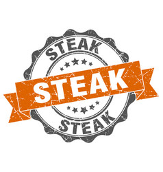 Steak stamp sign seal vector