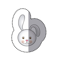 sticker colorful picture face cute rabbit animal vector image