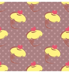 Tile polka dots and cupcakes pattern background vector image