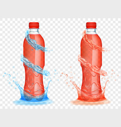 Transparent plastic bottles with water crowns and vector
