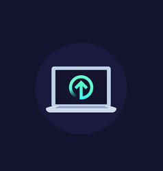 Upload icon with laptop vector
