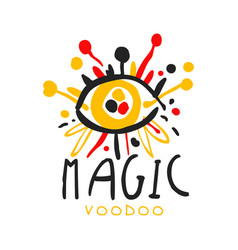 Voodoo african and american magic logo eye with vector