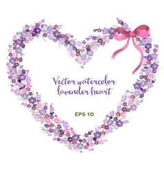 Watercolor heart-shaped wreath lavender vector