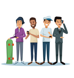 White background with set men social network vector