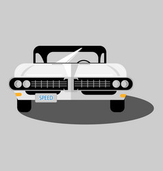 white retro car isolated vector image