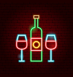 wine bottle glass neon sign vector image