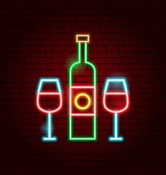 wine bottle glass neon sign vector image