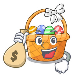 With money bag easter basket ball in cartoon shape vector