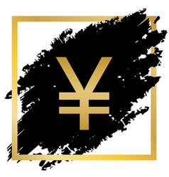 Yen sign golden icon at black spot inside vector