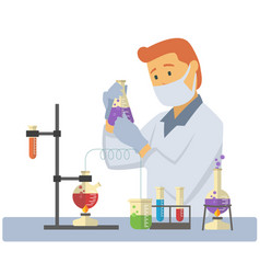 young male chemist measuring chemical liquid with vector image