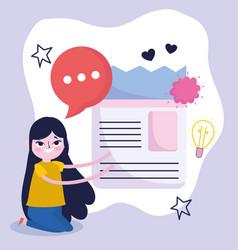 young woman light bulb creativity idea talk vector image