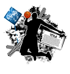 basketball grunge vector image vector image