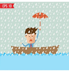 Business cartoon holding umbrella on boat for vector image