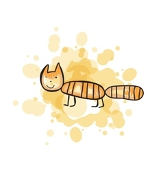 Child s drawn colorful cat vector image vector image
