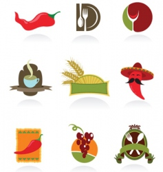 chili icons vector image vector image