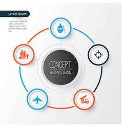 combat icons set collection of fugitive target vector image