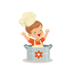 cute little boy chef sitting in the pot vector image