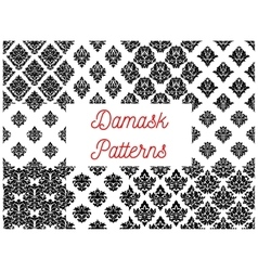 Damask seamless patterns with floral motif vector image vector image