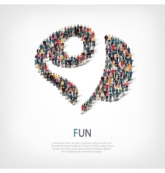 fun people sign 3d vector image vector image