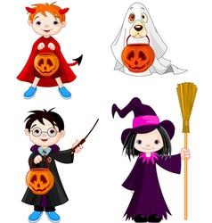 Halloween trick or treating children vector image vector image