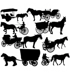 Horse drawn vehicle silhouettes vector