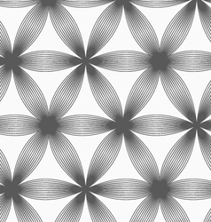 Monochrome linear striped six pedal flowers vector image vector image