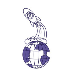 Purple line contour of earth globe and space vector