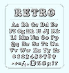 retro font on light blue background the alphabet vector image vector image