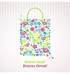 Shopping bag for Spring Sale vector image vector image