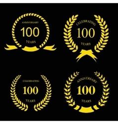Anniversary golden laurel wreath 100 years vector image