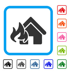 fire damage framed icon vector image vector image