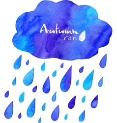 Watercolor painted autumn rain with cloud vector image vector image