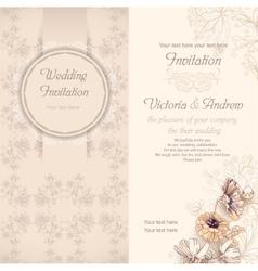 Wedding invitation template beige vector image