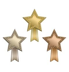 Award star ribbon vector image vector image
