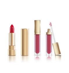 Beautiful red cosmetic lipstick and liquid lip vector